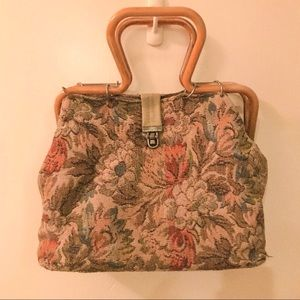 Vintage Floral Wooden Handle Clutch